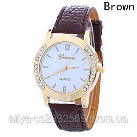 Женские часы Женева в коричневом цвете