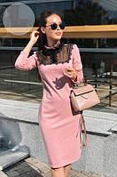 Платье женское короткое джерси с кружевом и прозрачной вставкой P10459, фото 1