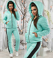 Зимний тёплый женский костюм, на синтепоне. Ментол, 3 цвета. Р-ры: S,M,L