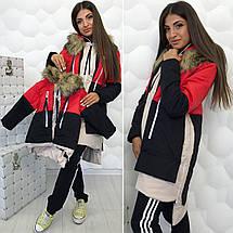 """Асимметричная женская куртка-трансформер """"TRINITY"""" с капюшоном и карманами, фото 3"""