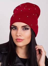 Женская шапочка с отворотом и бусинами Holly