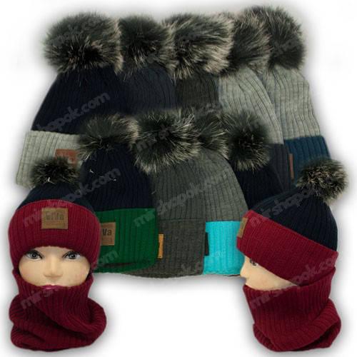 Комплект - шапка с помпоном и шарф (хомут) для мальчика, р. 50-52