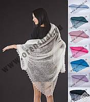 Оренбургский платок пуховый ажурный(паутинка)110х110см. Цвет: белый,черный, голубой.