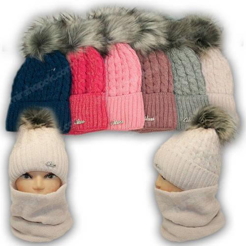 Комплект - шапка и шарф (хомут) для девочки с ниткой люрекс, р. 52-54