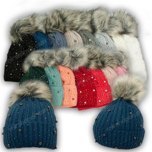 ОПТ Вязанная шапка с помпоном для девочки, р. 52-54 (5шт/набор)