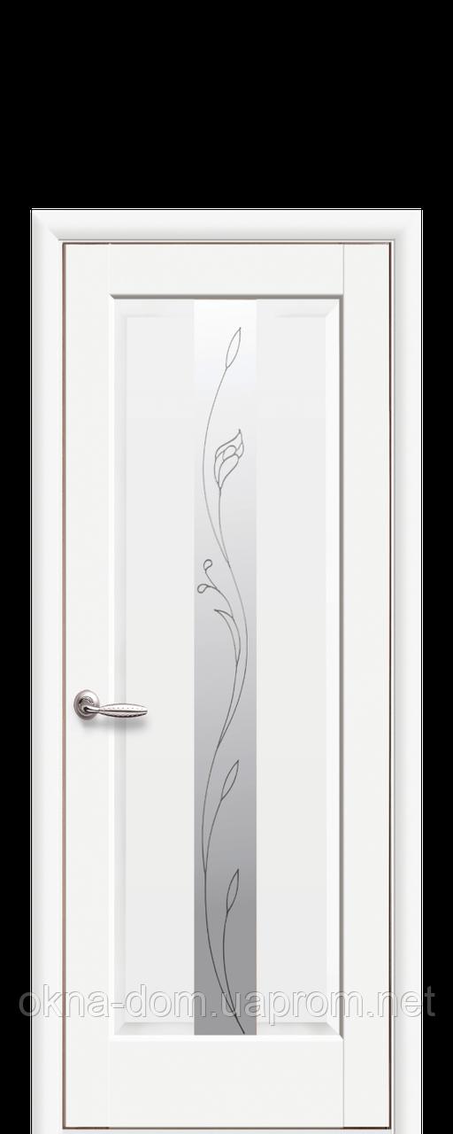 Двери межкомнатные Новый Стиль Премьера (стекло сатин и рисунок Р2) ПП Premium