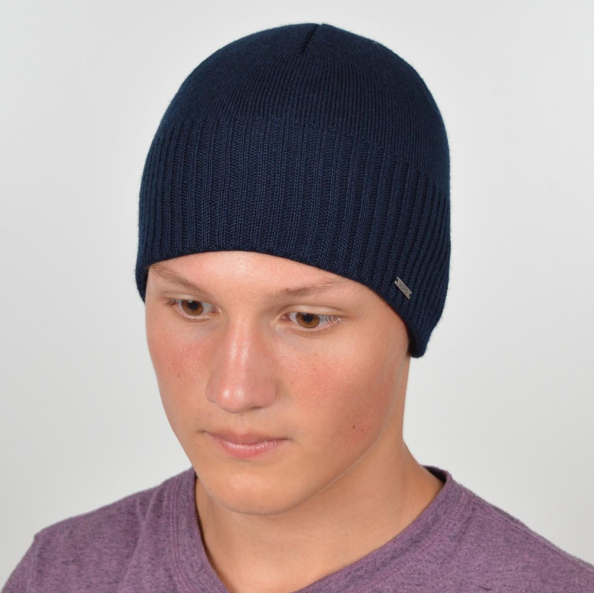 Мужская вязанная шапка NORD синий
