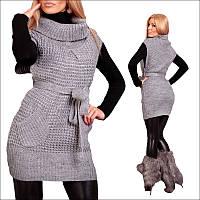 Стильная вязаная туника с карманами , женская одежда по низким ценам