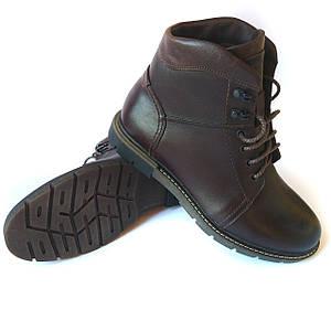 Мужская обувь Икос Луцк: кожаные зимние ботинки, коричневого цвета, на натуральном меху (овчине)