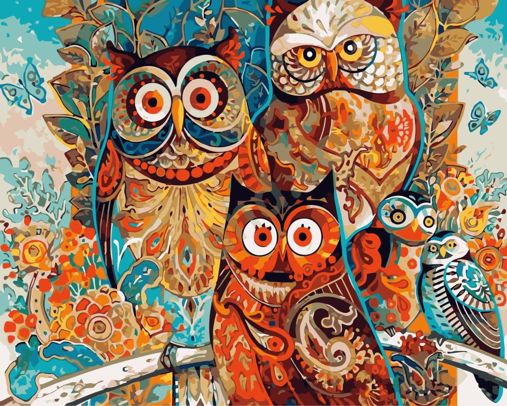 """Картина по номерам 50х40 """"Волшебные совы"""""""