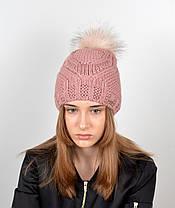 """Вязаная женская шапка """"Tina"""" с меховым помпоном, фото 3"""