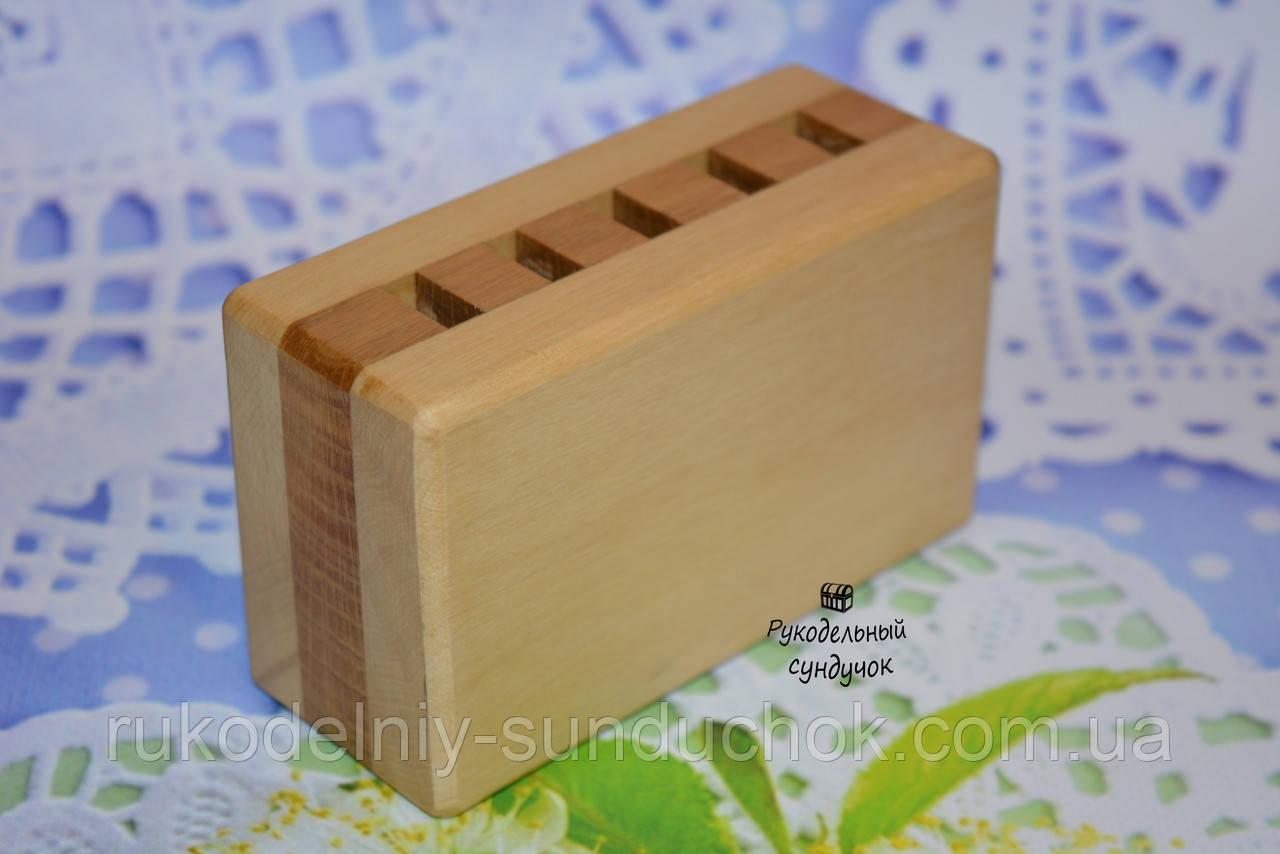 Деревянная прямоугольная подставка для ножниц (5 отверстий)