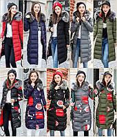 Двустороннее женское зимнее пальто пуховик парка с принтом абстракция и мех на капюшоне, фото 1