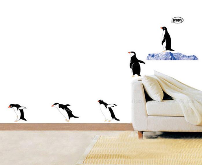 """Декоративные наклейки на стены """"Прыгающие пингвины"""" - """"Хочу ще!""""  інтернет-магазин :) в Киеве"""