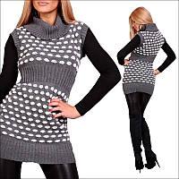 Нарядная вязаная туника без рукавов , женские свитера 2015