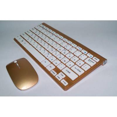 Комплект беспроводная клавиатура с мышкой Apple 902 Gold золотая