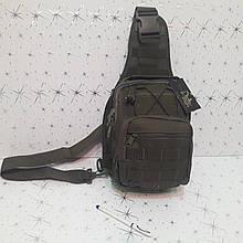 Тактический рюкзак на одно плечо черный оливковый 10 л