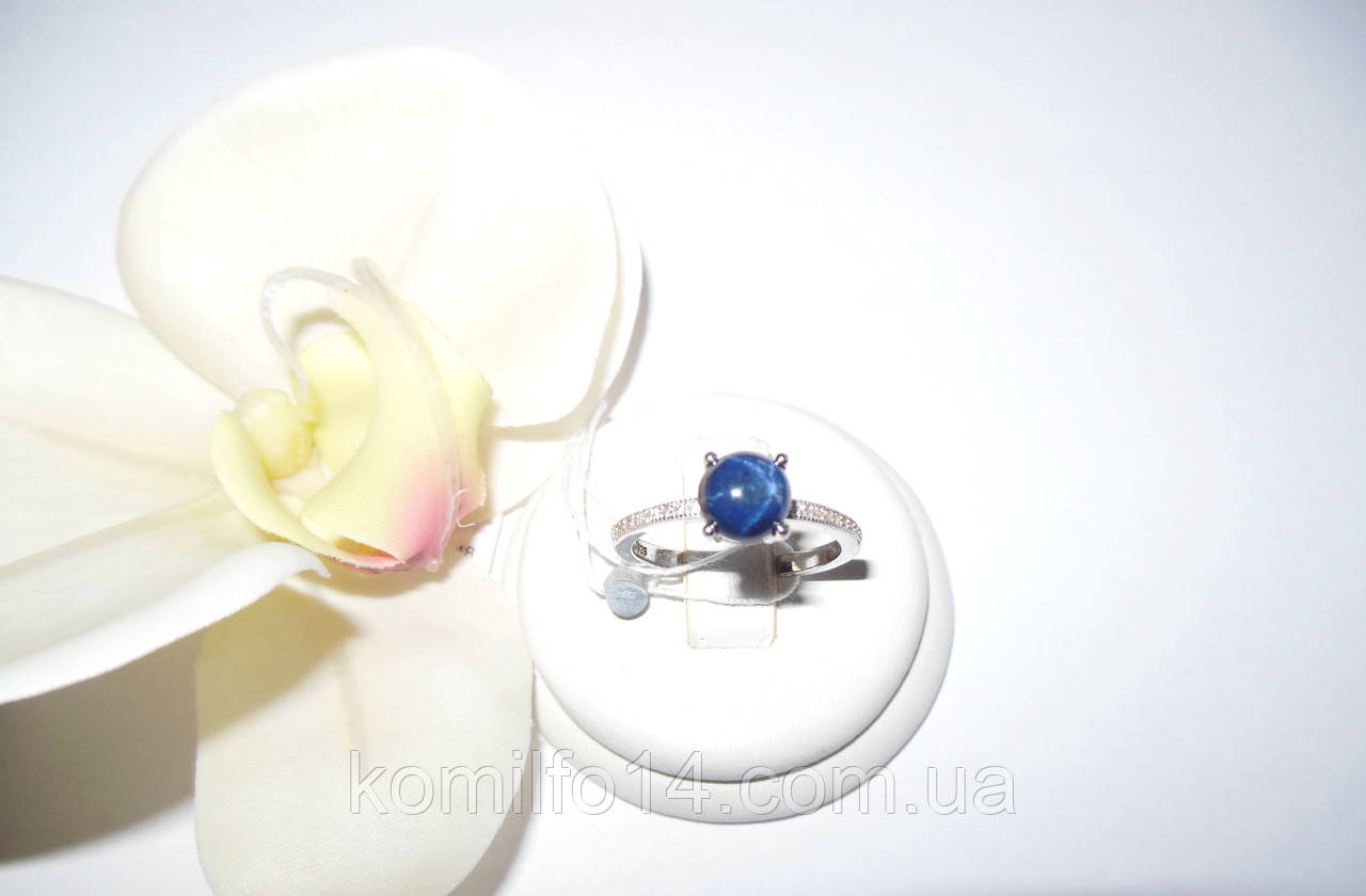 Серебряное кольцо с натуральным звездчатым сапфиром (кабошон)