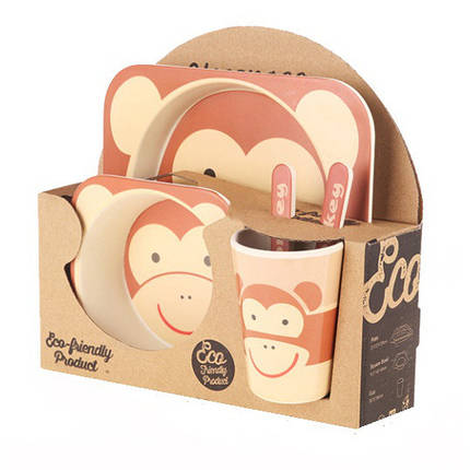 Набор бамбуковой посуды Обезьянка Monkey антибактериальная для детей, фото 2