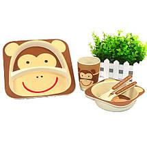 Набор бамбуковой посуды Обезьянка Monkey антибактериальная для детей, фото 3