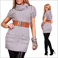 Женская вязаная туника с поясом и карманами