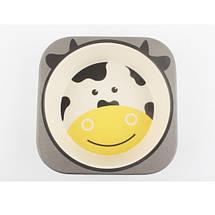 Посуда для детей с Коровкой Cow из бамбуковых волокон противомикробная, фото 2