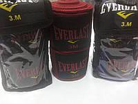 Бинты боксерские Everlast 3 м эластичные в индивидуальной упаковке, фото 1