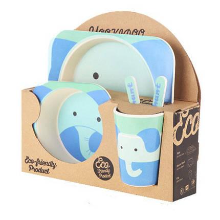 Бамбуковая посуда для деток противоаллергенная Слоник Elephant набор 5 в 1, фото 2