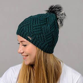"""Вязаная женская шапка """"Ester"""" с меховым помпоном, фото 2"""