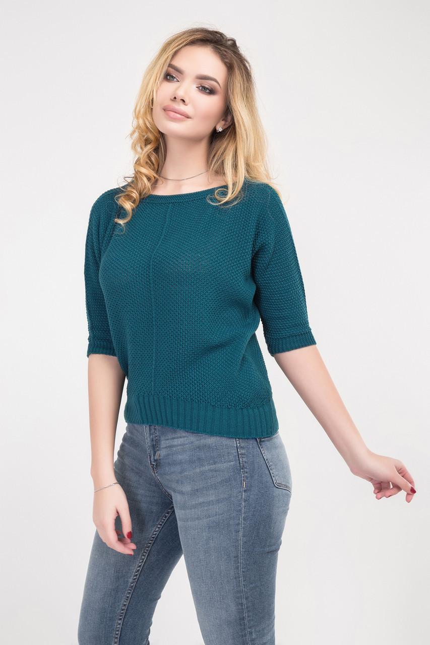 Сводный женский джемпер в стиле OVERSIZE сине-зеленый