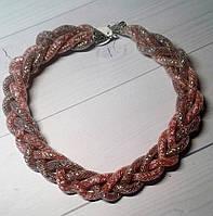 Плетеные розовые бусы,бижутерия в подарок  ручной работы., фото 1