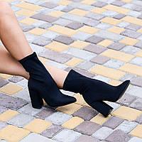 Женские  ботинки черные  стрейч каблук 10см, фото 1