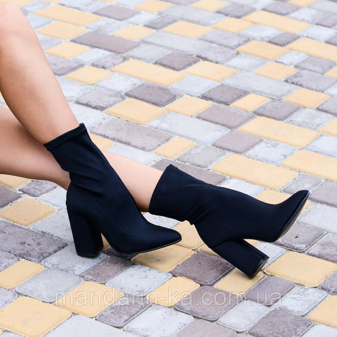 Женские  ботинки черные  стрейч каблук 10см