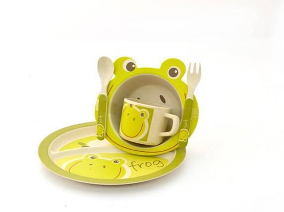 """Бамбуковая посуда """"Лягушка"""" для детей набор антибактериальный эко-посуда, фото 2"""