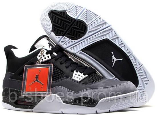 Мужские кроссовки Air Jordan Retro 4 (DarkGrey/GreenGlow/CementGrey)