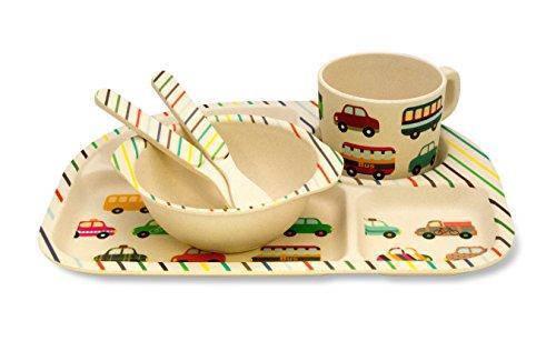 Бамбуковая посуда детская набор антибактериальный Машинки эко-посуда, фото 2