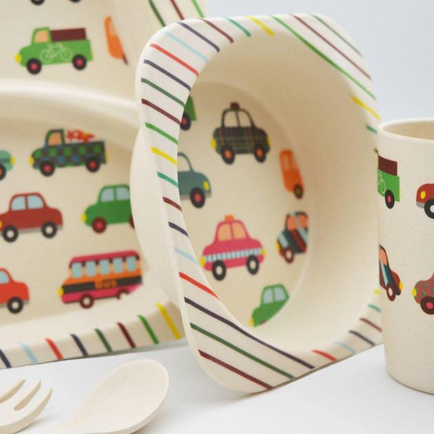 Бамбуковая посуда детская набор антибактериальный Машинки эко-посуда