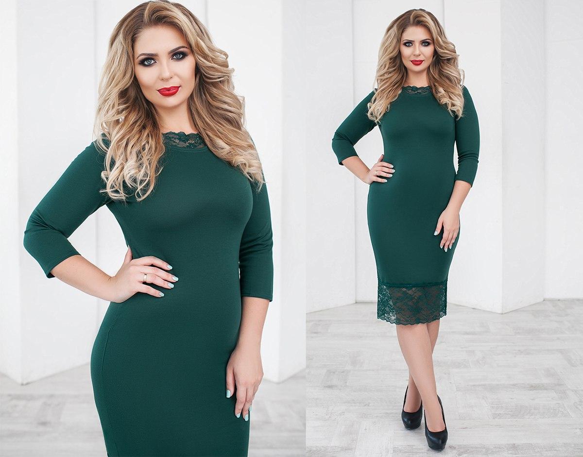 Трикотажное Платье с Кружевом. Зелёное 8a4aa809c8ce3