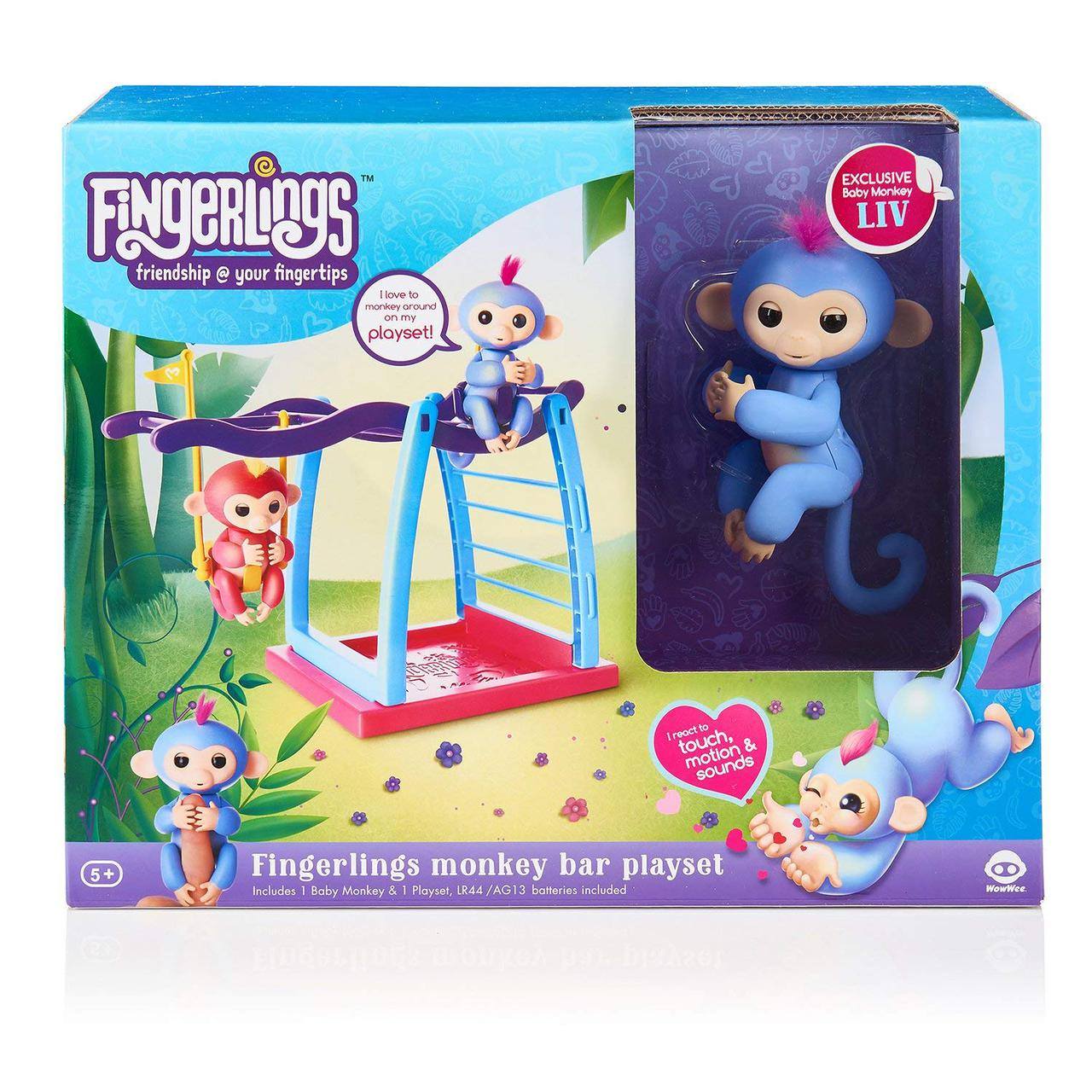 Интерактивная обезьянка с детской площадкой WowWee Fingerlings / Playset Bar Playground Liv The Baby Monkey