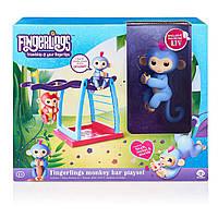 Интерактивная обезьянка с детской площадкой WowWee Fingerlings / Playset Bar Playground Liv The Baby Monkey, фото 1