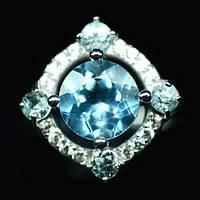 Кольцо с натуральным Небесно-голубым Топазом и фианитами, фото 1