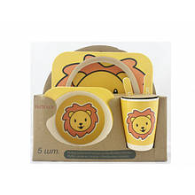 Набор детсткой посуды бамбуковый 5 приборов Лев безопасная антибактериальная