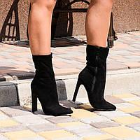 Женские ботинки  черные  острый нос каблук 11 см