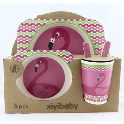 """Бамбуковая посуда для кормления детей антибактериальная популярная """"Фламинго"""", фото 2"""