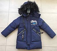 Куртка-пальто зимнее на мальчика с надписью 4-6 лет, фото 1