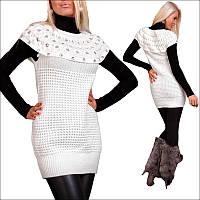 Женская белая вязаная туника, стильная белая туника