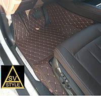 Коврики BMW X5 Кожаные 3D (кузов F15 / 2014-2018) Коричневые, фото 1