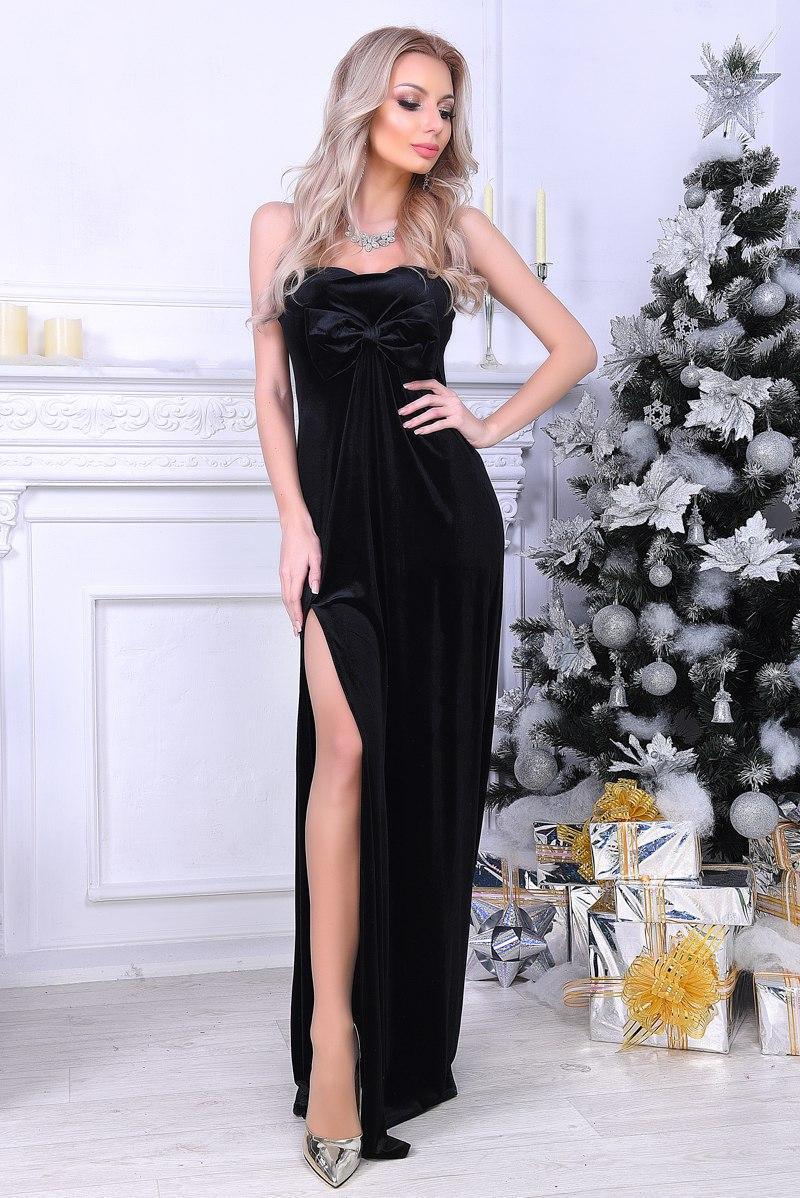79de38b676b Длинное Вечернее Бархатное Платье с Бантом. Чёрное