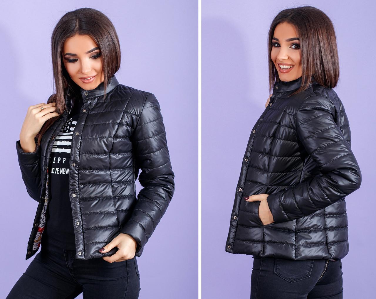 Жіноча коротка куртка з коміром стійкою весна - осінь 42,44,46,48