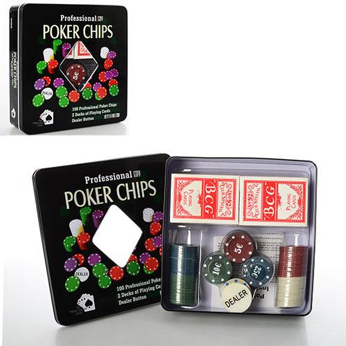 Настольная игра 3896A покер фишки карты-2 колоды в кор-ке (металл) 20-20-5 см